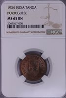 NGC-MS65BN 1934 INDIA PORTUGUESE TANGA