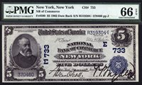 $5 1902 Date Back National Bank of Commerce in New York CH 733 PMG 66 EPQ