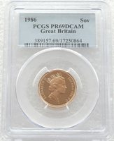 1986 British Royal Mint St George Gold Proof Full Sovereign Coin PCGS PR69 DCAM