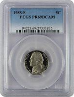 1988-S Jefferson PROOF Nickel, Graded PR69DCAM by PCGS