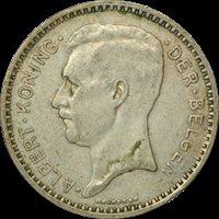 1934 BELGIUM SILVER 20 FRANCS, Albert I (Dutch text), VF