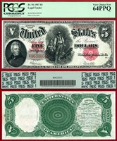 US Currency 1907 $5 Legal Tender Note AKA The Woodchopper PCGS Graded CU64PPQ S/N K86388645