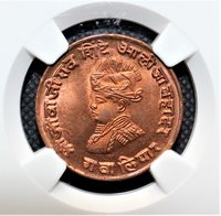 India Princely-States GWALIOR 1/4 Anna VS1986 (1929) KM# 176.1 NGC MS 65 RD