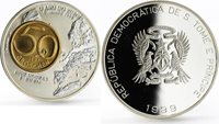 St Thomas and Prince Islands Sao Tome and Principe 2000 dobras Year of the Euro 50 Groschen silver coin 1999