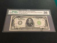 1934 $1000 Fr.2211-L San Fran PQ Light Green Seal- Choice PMG AU 50-Fancy Lime!