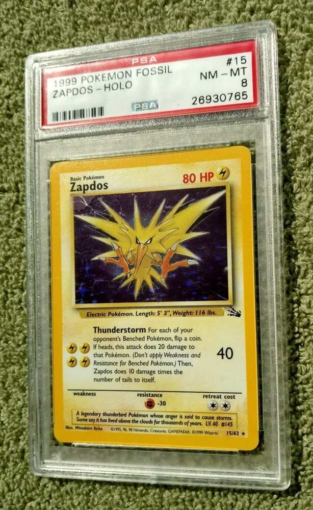 15//62 Holo-foil Rare Fossil Set Pokemon Card Zapdos Heavily Played
