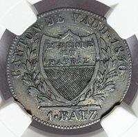 1830-BEL Switzerland Vaud One Batzen 10 Rappen Billon Coin - NGC XF 45 - KM# 20