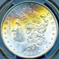 HGR 1880 $1 Morgan ((Beautiful RAINBOW Toning)) PCGS MS-63 (36412)