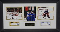 """1980 Men's Hockey Olympic Team """"Do you believe in miracles ?"""" Framed Autograph"""