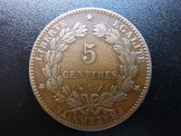1886A France Ceres Head 5 Centimes Good Detail (ref12a)