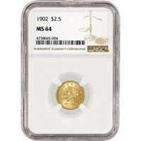 1902 $2.50 Liberty Head Quarter Eagle Gold NGC MS64 Uncirculated Mint State Coin