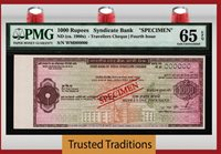 1000 Rupees Nd(1980s) State Bank Of India Travellers Cheque Specimen Pmg 65q!