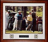 "Arnold Palmer Jack Nicklaus Tiger Woods ""The King and ""Golden Bear"" Framed Autograph 51×45 by JSA"