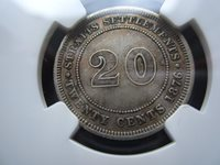 KEY DATE Straits Settlements 20 Cents 1876-H NGC XF45 #A2