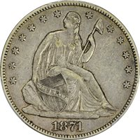 1871 50c Liberty Seated Half Dollar PCGS XF40 CAC