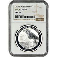 2016 1 oz Silver Australian Kookaburra Coins NGC MS70