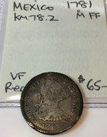 1781 M FF Real Mexico, KM #78.2 Very Fine Condition
