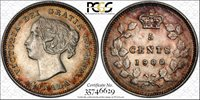 1900 Canada 5 Cents PCGS AU 55 Very Attractive Toning