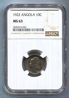 Angola - 1922 10 centavos KM#63 in NGC MS 63