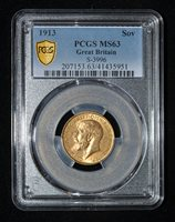 PCGS MS63 1913 Great Britain George V Gold Sovereign