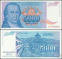 1994 5000 Dinaras YUGOSLAVIA Bank Note - UNC-AU