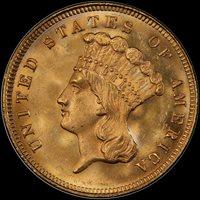 1879 $3 MS65+ PCGS