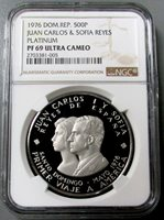 1976 PLATINUM DOMINICAN REPUBLIC 500 PESO NGC PROOF 69 ULTRA CAMEO FINEST KNOWN ONLY 10 MINTED
