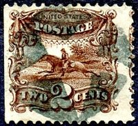 #113, F-VF, SE, bearing asuperb SOTN strike of a negative star killer. Stamp with a couple trivial corner bends at UR and BL. A terrifically eye-catching item.