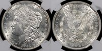 """1921 NGC MS{62} Error Coins THIS STONE WHITE MORGAN DOLLAR ERROR HAS A CURVED CLIP AT 1 O""""CLOCK."""
