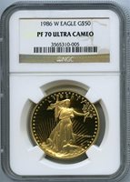 1986-W $50 gold eagle ngc pf70