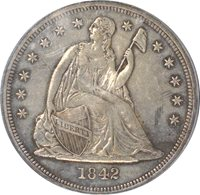 1842 Liberty Seated Dollar PCGS XF45 OC-4