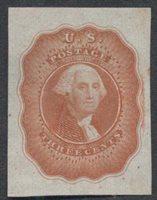 United StatesScott #11-#14Ac (2014 Scott Value $350.00), Unused, VF. 3c Washington (#11-E14Ac) 20x27mm in scarlet.Stamp #46022   Price: $105.00Add To Cart