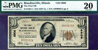 HGR CH#8908 1929 $10 BLANDINSVILLE Illinois ((Mega RARE Bank) PMG VF-20