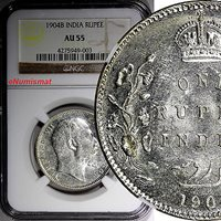 World Coins India-british Edward Vii Silver 1904 (b) Rupee Ngc Au55 Km# 508