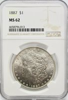 1887-P Morgan Silver Dollar NGC MS62