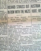 RICHARD STRAUSS & Nazis Nazi Germany re JEWS Jewish Writing Opera 1935 Newspaper