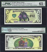"Disney $1.00, 2013 ""D"" Maleficent PMG 65,"