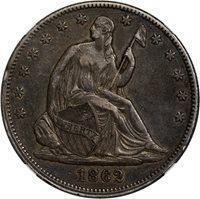 $0.50 1862 Seated 50c Half Dollar - PCGS AU53 PQ