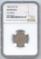 1866 With Rays Shield Nickel, NGC AU Details