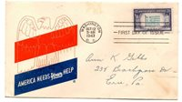 FIRST DAY ISSUE COVER U.S. 5 CENT POSTAGE STAMP GREECE OVERRUN COUNTRIES 1943