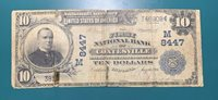 National Note 1902 $10 Plain Back Ch# 8447 Coatsville, IN