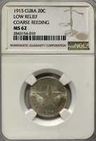 1915 Star 20 Centavos Low Relief, Coarse Reeds – NGC MS62