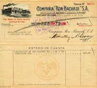 1951 Cuba Bacardi Rum Co. Check To Family Member Elizabeth Lay