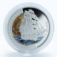 Tuvalu 1 Dollar Ship Cutty Sark silver proof colorized coin 2012