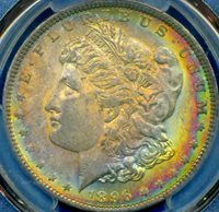 HGR 1896 $1 Morgan ((Beautiful RAINBOW Toning)) PCGS MS-63 (51081)