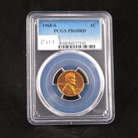 1968 S Proof Lincoln Penny, PCGS PR68RD, Graded in Holder, Gem Uncirculated