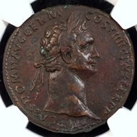 AD 81-96 Domitian AE Sestertius NGC XF, Strike 4/5, Surface 3/5, Fine Style, smoothing