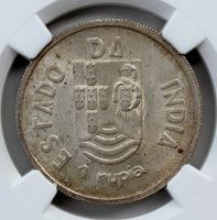 Portuguese India 1935 Silver Rupia NGC Graded MS-63