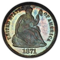 1871 H10C Liberty Seated Half Dime PCGS PR65+ (CAC) #2702-1 PQ! COLOR!