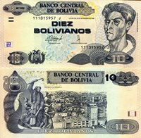 "Bolivia 10 Bolivianos Pick #: 243 2015 UNCOther Alternative Signature Light Brown/Blue Cecilio Guzman de Rojas; Statue of Family; City ViewNote 5 1/2"" x 2 3/4"" South America Cecilio Guzman de Rojas"